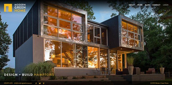 全屏网页设计Modern Green Home