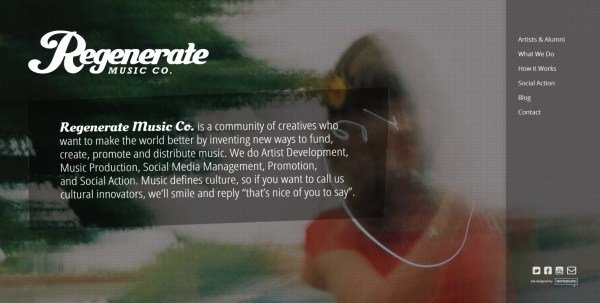 全屏网页设计Regenerate Music Co.