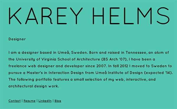 Karey Helms in Showcase of Turquoise Websites