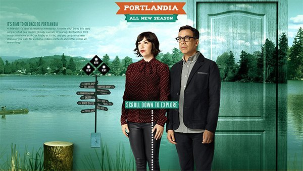 Portlandia in Showcase of Turquoise Websites