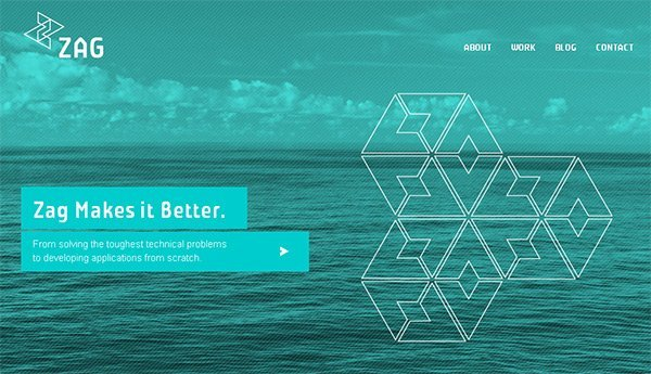 Zag Studio in Showcase of Turquoise Websites