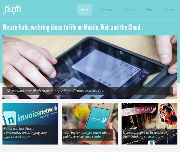 Fiafo in Showcase of Turquoise Websites