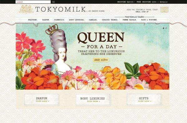 Tokyo Milk - 柔和色彩的网页设计