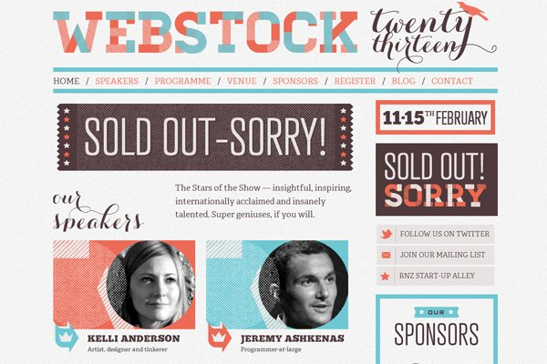 Webstock - 柔和色彩的网页设计