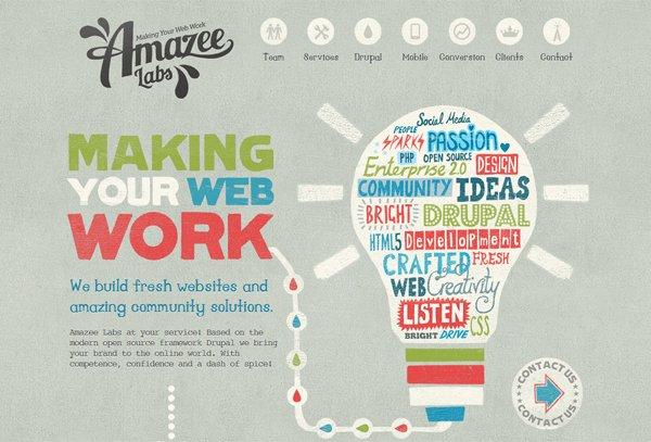 Amazeelabs - 柔和色彩的网页设计