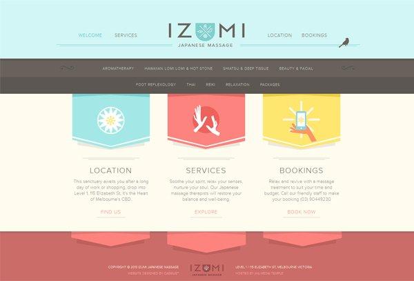 Izumi Massage - 柔和色彩的网页设计