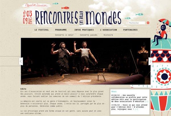 Rencontres Entre Les Mondes - 柔和色彩的网页设计
