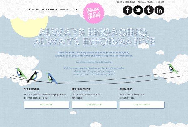 Raise the Roof - 柔和色彩的网页设计