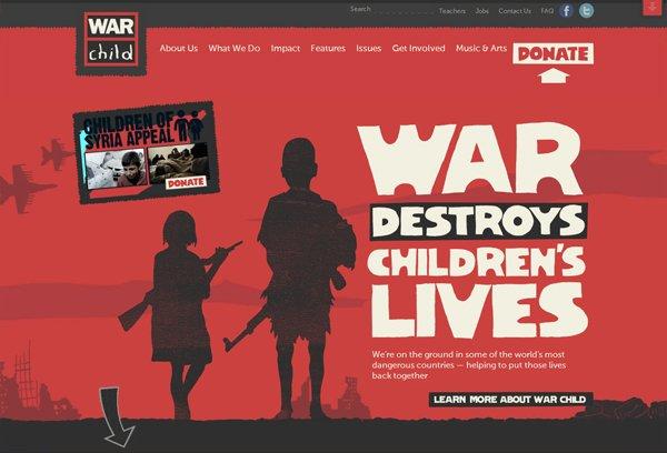 War Child - 柔和色彩的网页设计