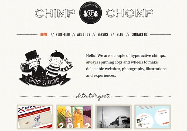 Chimp Chomp - 柔和色彩的网页设计