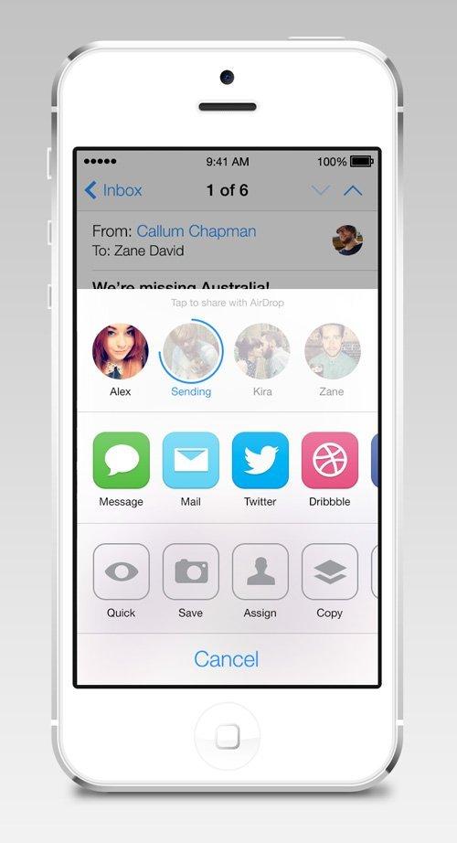 UI设计 iOS7 AirDrop/Share Redesign