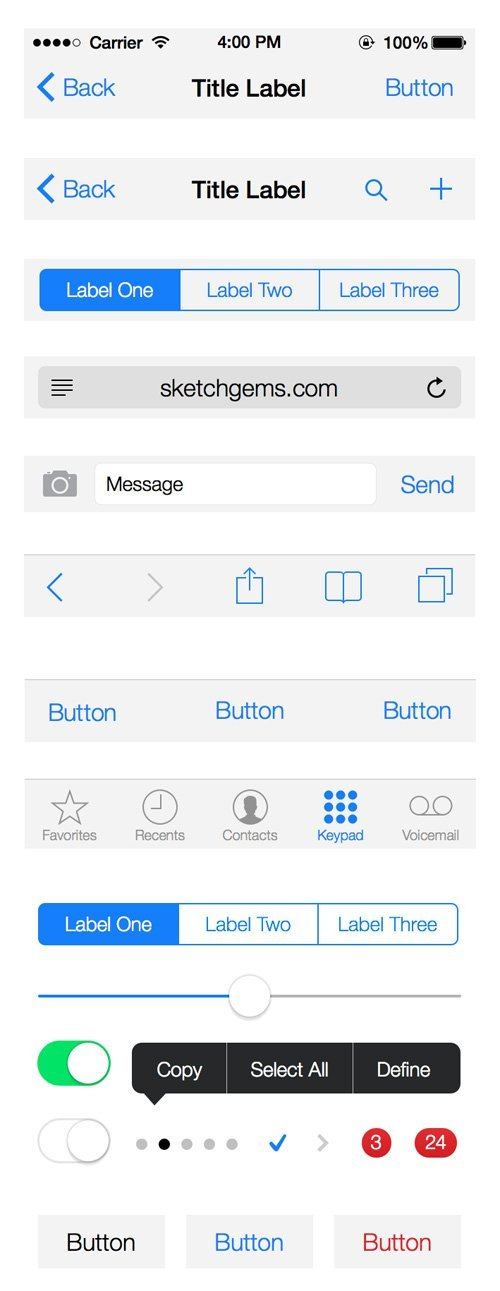 UI设计 iOS 7 UI Kit (.sketch)