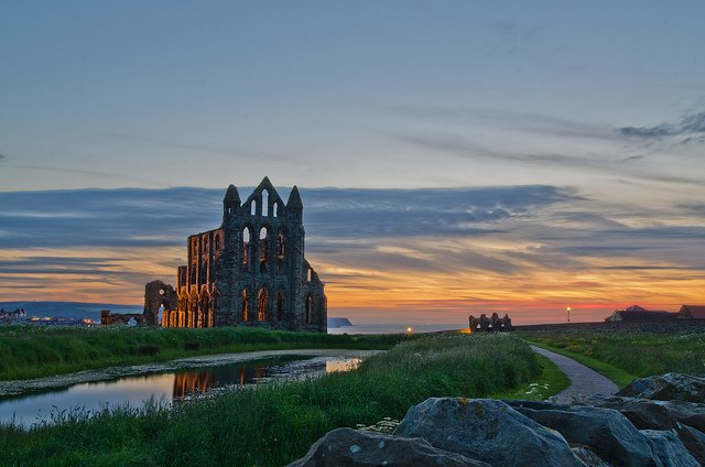 After sunset at Whitby Abbey.