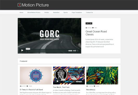 Motion Picture  WordPress Video Blogging Theme