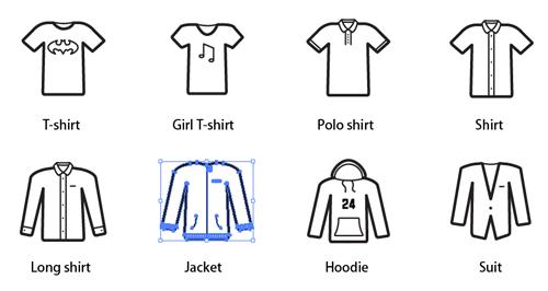 24个好看的衣服,鞋子,内衣系列图标素材