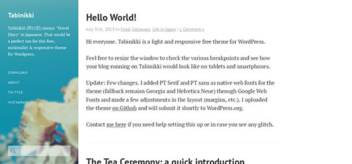 Tabinikki lightweight blogger writer theme wordpress