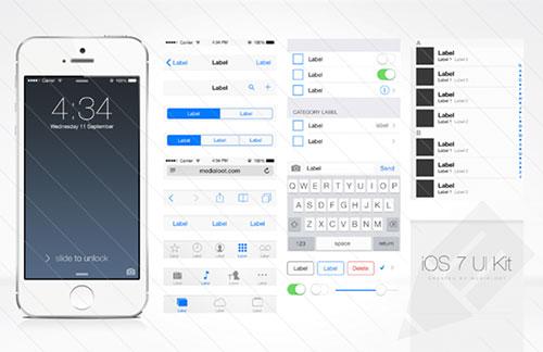 UI设计素:材800x518_iOS_7_UI_Kit_Preview1a