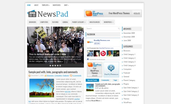 免费wordpress cms主题newspad