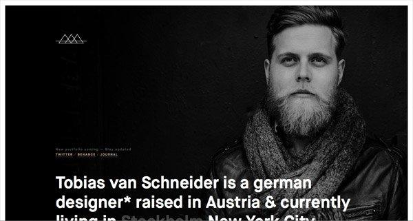 黑色网页设计Tobias van Schneider