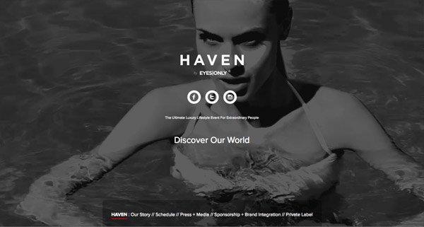 黑色网页设计HAVEN by EYES|ONLY