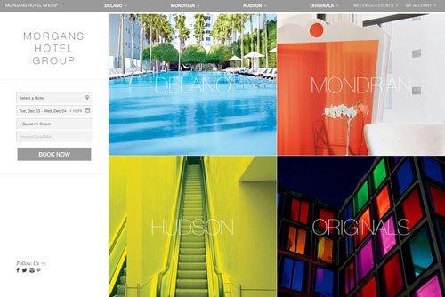 网格布局网页 Morgans Hotel Group