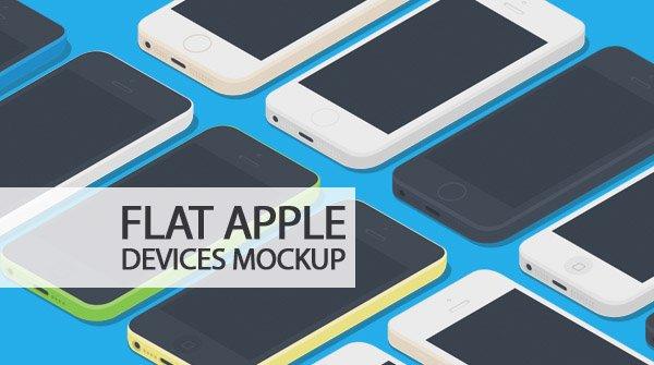 High Qutliay Flat Apple Devices Mockup 设计素材下载