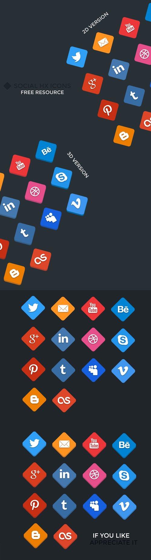 Social HX Icons - 2D/3D 设计素材下载