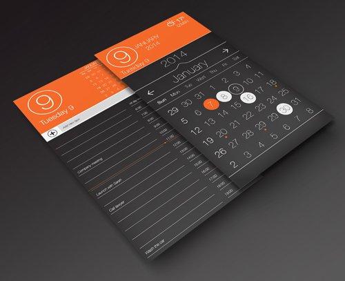 Calendar App UI and Task Page PSD 设计素材下载