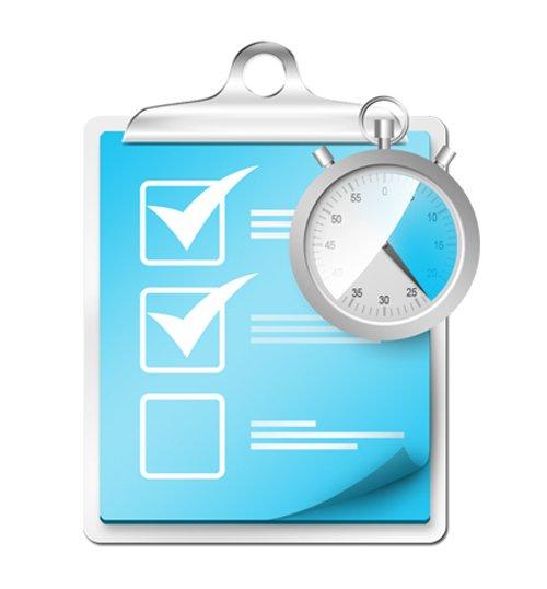 Checklist with stopwatch icon (PSD) 设计素材下载