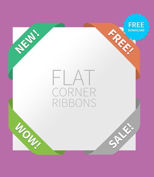 Flat Corner Ribbons 设计素材下载