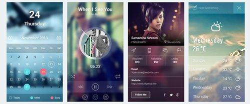 iOS 7 App Screens PSD 设计素材下载