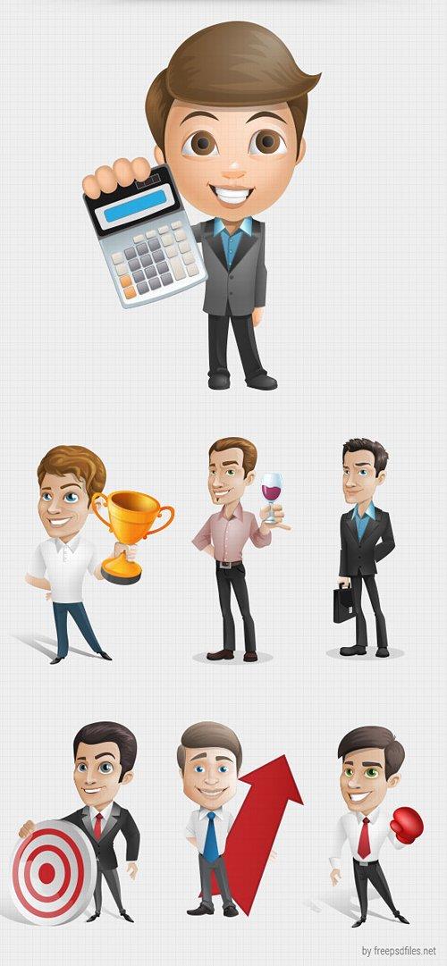 Businessman Vector Character Set 设计素材下载