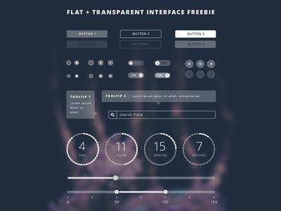 Freebie Friday | Flat Transparent UI Kit - .PSD link inside! ui设计