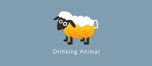 Drinking Animal 绵羊logo