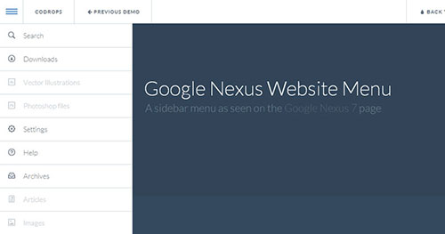 手机菜单插件:Google Nexus Website Menu