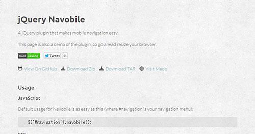 手机菜单插件:jQuery Navobile