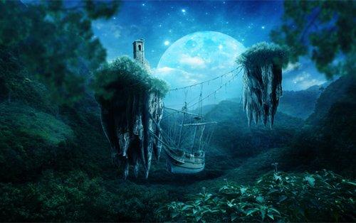 创建一个信人难以置信的蓝光之城场景与浮岛