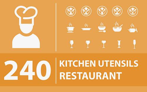 240个厨房、餐厅图标