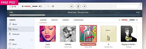 iTunes IOS7 psd Free UI Kits freebies designer