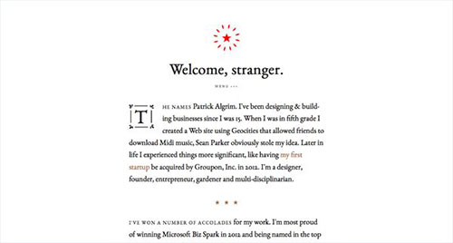 Patrick Algrim 极简主义 网页设计