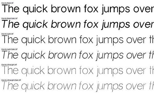 Gravity thin font 细字体
