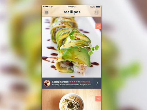 ios cooking app ui recipes feed ui设计 界面设计
