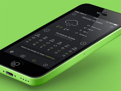 dark black white weather iphone app ui界面设计