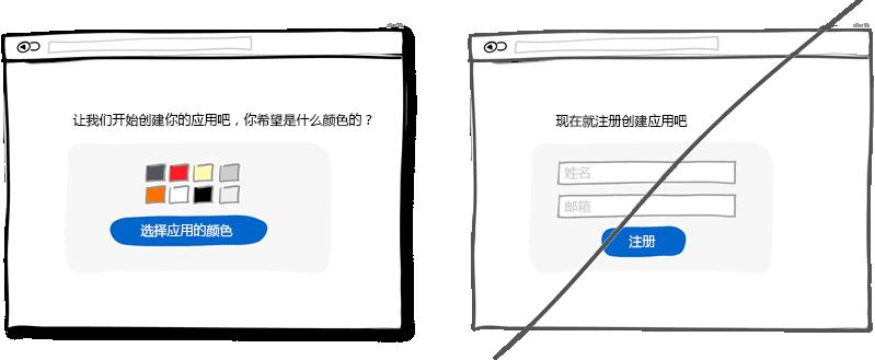 循序渐进的引导而不要直接让用户注册