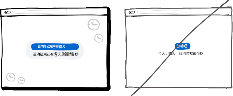 让用户感觉需要快速做出响应而不是毫无时间观念