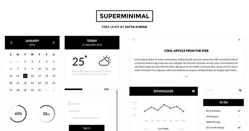 免费PSD- Superminimal UI Kit PSD素材