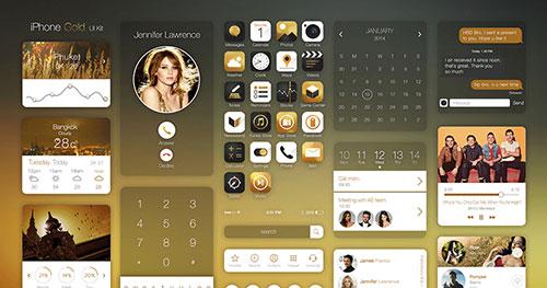 Iphone Gold Ui Kit PSD素材