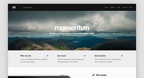 momentum 网页设计欣赏