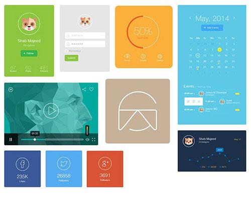 Flat-UI-Design-Elements UI设计 PSD素材