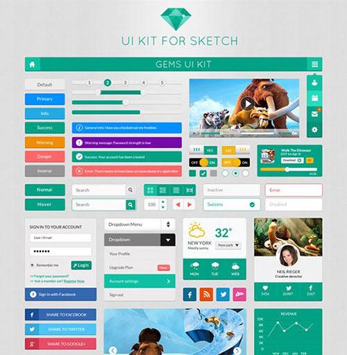 free-flat-ui-kit UI设计 PSD素材